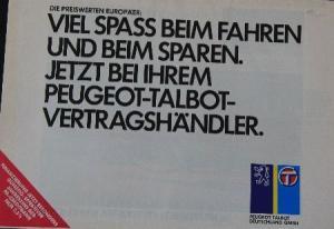 Peugeot Modellprogramm 1983 Automobilprospekt