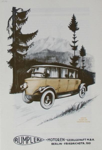 Rumpler Tropfenwagen 1926 Automobilprospekt