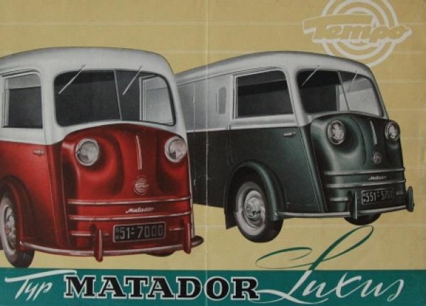 Tempo Matador Luxus Modellprogramm 1951 Lastwagenprospekt