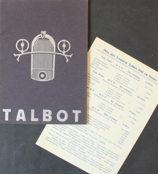 Talbot Modellprogramm 1928 Automobilprospekt