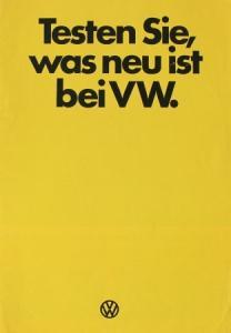 """Volkswagen Käfer """"Testen Sie was neu ist"""" 1973 Automobilprospekt"""