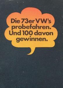 Volkswagen Probefahren Automobilprospekt 1973