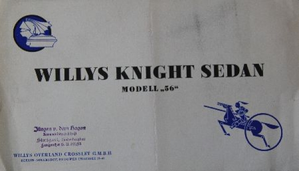 Willys Knight 56 Sedan 1927 Automobilprospekt