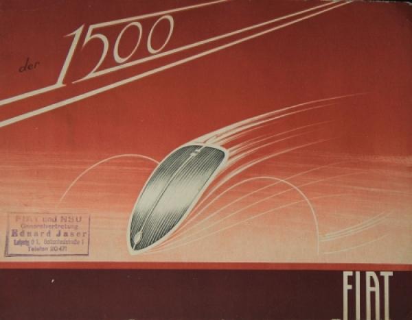 Fiat 1500 Modellprogramm 1938 Automobilprospekt