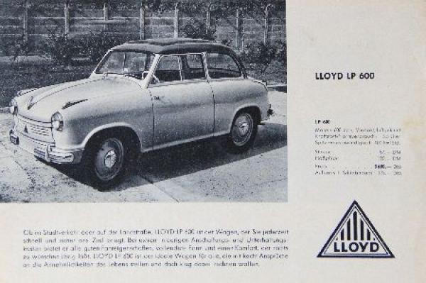 Lloyd LP 600 Automobilprospekt 1958