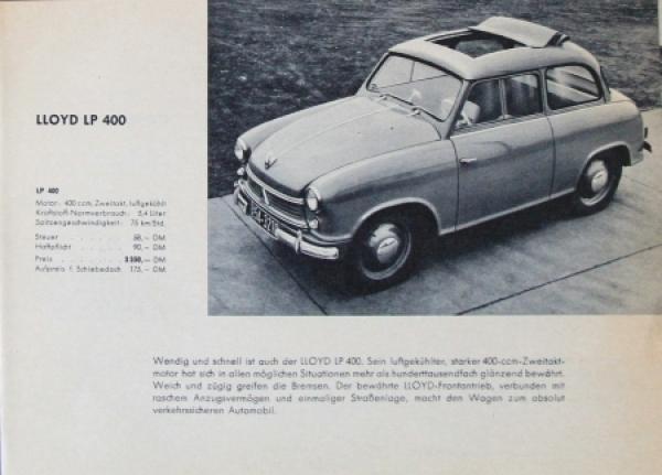Lloyd LP 400 Automobilprospekt 1958