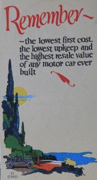 Ford T Modell 1922 Automobilprospekt