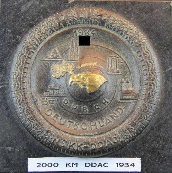 """DDAC Plakette """"2000 km durch Deutschland"""" 1934"""