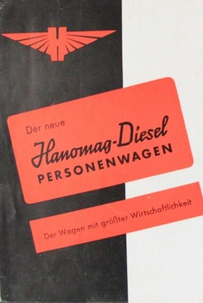 Hanomag Diesel Personenwagen 1939 Automobilprospekt