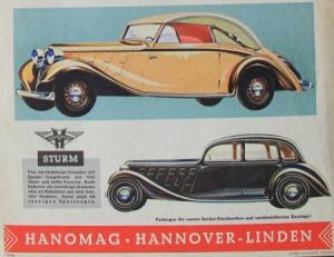 Hanomag Modellprogramm 1936 Automobilprospekt