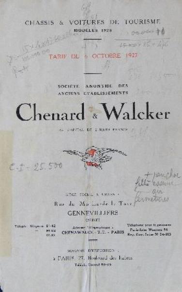 Chenard & Walker Modellprogramm 1927 Automobilprospekt