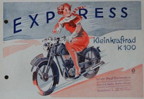 Express Kleinkraftrad K 100 Motorradprospekt 1936
