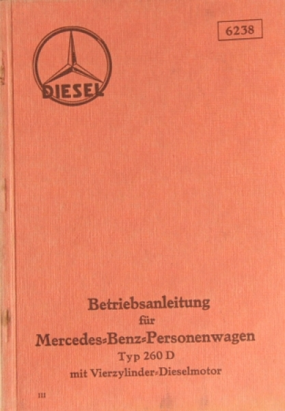 Mercedes Benz 260 D Betriebsanleitung 1936
