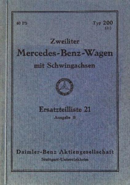 Mercedes Benz 2 Liter Wagen mit Schwingachse Ersatzteilliste 1933