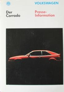 Volkswagen Corrado Pressemappe 1989 Automobilprospekt