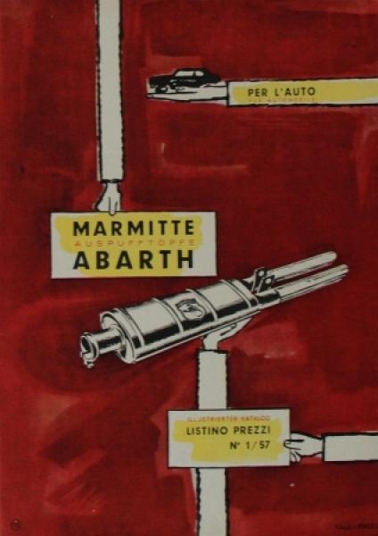 Abarth Auspuff-Katalog 1957 Automobil-Zubehörprospekt