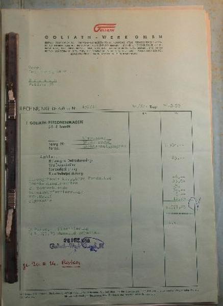 Goliath Hansa 1100 Verkaufsmappe 1959 Automobilprospekt