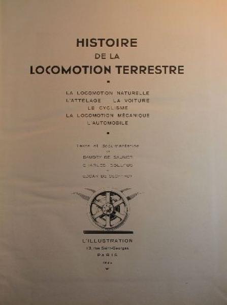 "De Saunier ""Histoire de la Locomotion terreste"" Fahrzeug-Historie 1936"