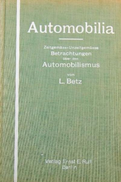 "Betz ""Automobilia - Betrachtungen über den Automobilismus"" Automobil-Historie 1928"