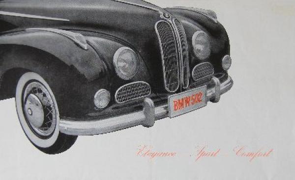 BMW 502 Modellprogramm 1954 Automobilprospekt