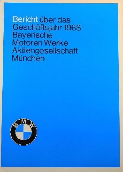 """BMW """"Bericht über das Geschäftsjahr 1968"""" Automobilprospekt"""
