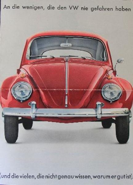 """Volkswagen """"An die wenigen, die den VW nie gefahren haben"""" Automobilprospekt 1963"""