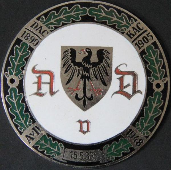 Automobilclub von Deutschland AvD Email-Plakette 1948