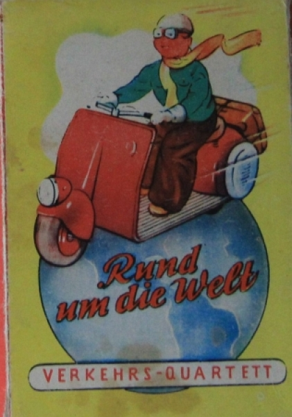 """S&S Verkehrs-Quartett """"Rund um die Welt"""" Kartenspiel 1955"""