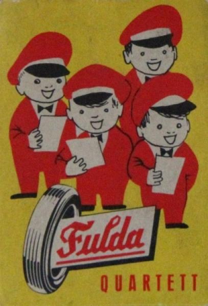 Fulda Reifen Quartett 1955 Werbe-Kartenspiel
