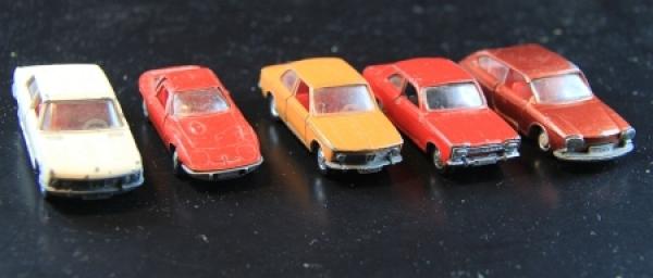 Schuco Konvolut 5 Autos der Marken BMW-Ford-Opel-VW Metallmodelle 1972