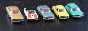 Schuco Konvolut 5 Autos der Marken BMW-Opel-VW Metallmodelle 1972