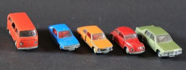 Schuco Konvolut 5 Autos der Marken Renault-Opel-VW-BMW Metallmodelle 1972