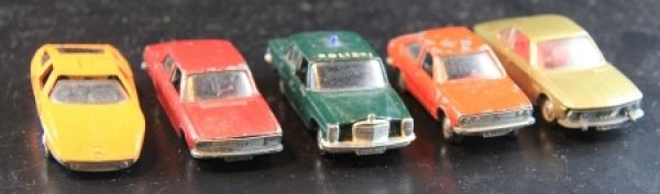 Schuco Konvolut 5 Autos der Marken Mercedes-Audi-VW-BMW Metallmodelle 1972