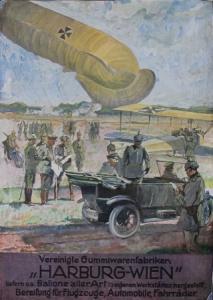 Vereinigte Gummiwarenfabriken, Harburg-Wien - Original-Werbeplakat 1914