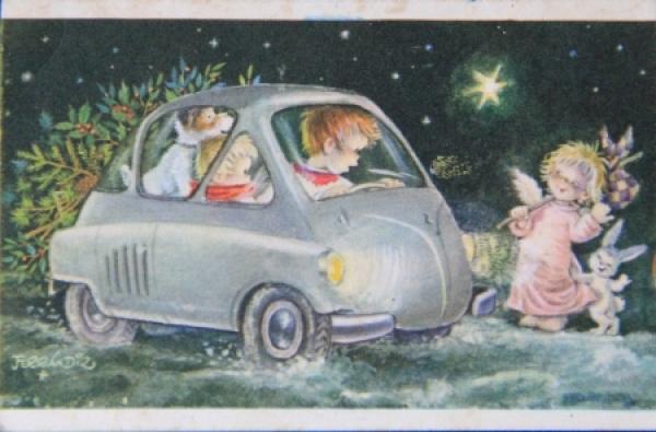 BMW Isetta Weihnachtsgrußkarte Spanien 1961