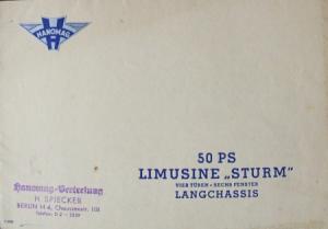 Hanomag Sturm 50 PS Limusine Langchassis 1936 Automobilprospekt