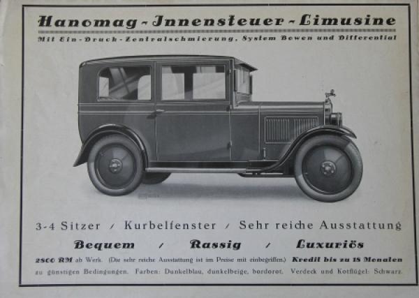 Hanomag Innensteuer-Limusine 1926 Automobilprospekt 1