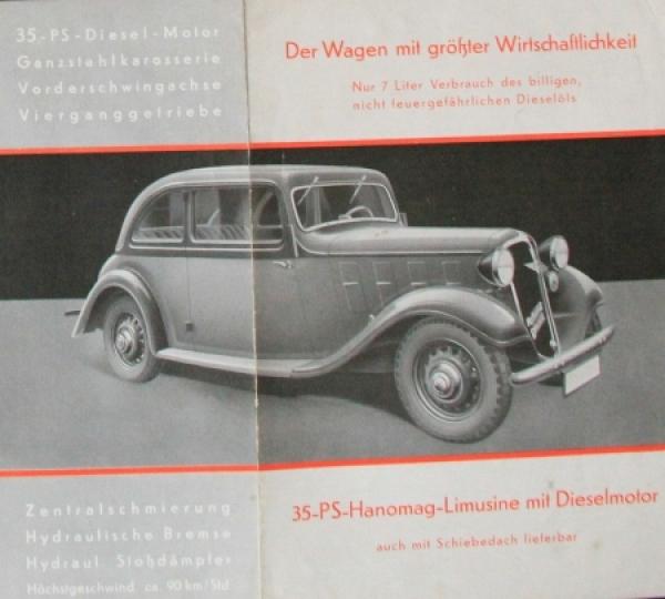 Hanomag Diesel Personenwagen 1938 Automobilprospekt 1