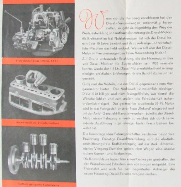 Hanomag Diesel Personenwagen 1938 Automobilprospekt 2