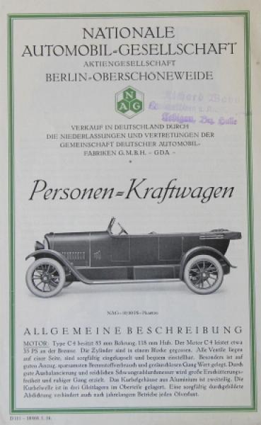 NAG Personen-Kraftwagen Modellprogramm 1924 Automobilprospekt