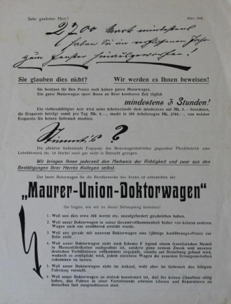 Maurer Union-Doktorwagen 1906 Automobilprospekt
