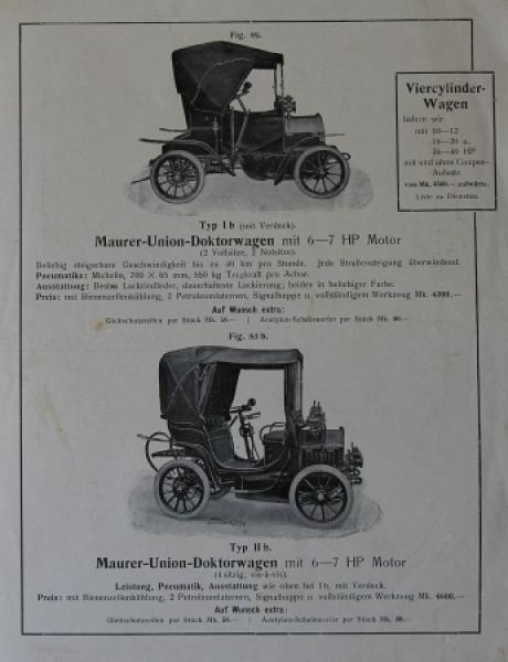 Maurer Union-Doktorwagen 1906 Automobilprospekt 1