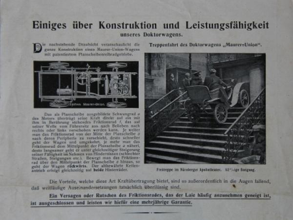 Maurer Union-Doktorwagen 1906 Automobilprospekt 2