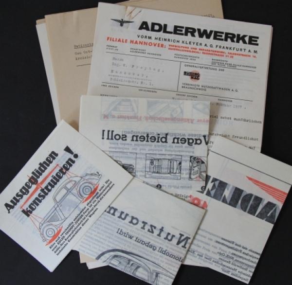 Adler Trumpf Junior 1 Liter Automobilprospekte & Korrespondenz 1937