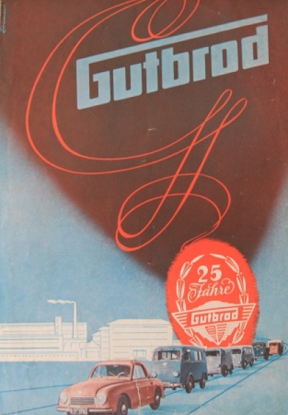 "Gutbrod Modellprogramm ""25 Jahre Gutbrod"" 1952 Jubiläumsautoprospekt"