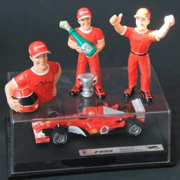 Ferrari F 2002 Matell Michael Schumacher Collection 2000 mit 3 Figuren