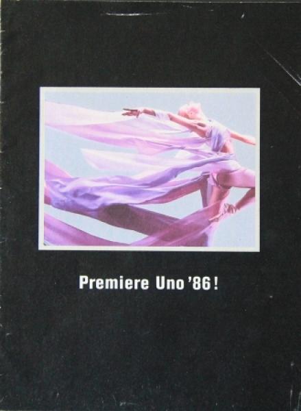 """Fiat Uno Modellprogramm """"Premiere Uno '86"""" Automobilprospekt 1986"""
