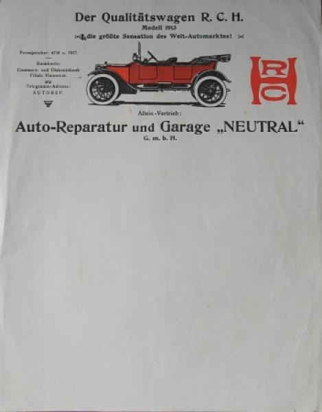 """Hupp-Yates """"R.C.H. Qualitätswagen"""" Firmenanschreiben 1913 Autoprospekt"""