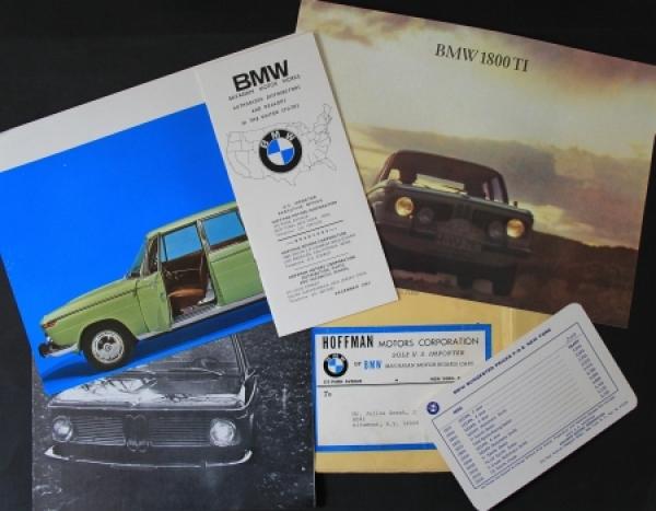 BMW Werbemappe 1967 mit 5 Automobilprospekte