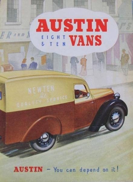 """Austin Eight-Ten Vans """"You can depend on it"""" 1939 Lastwagenprospekt"""